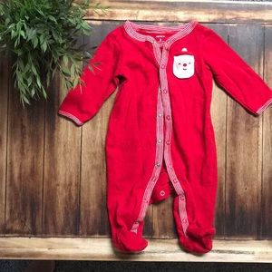NEVER WORN Red Christmas footie onesie